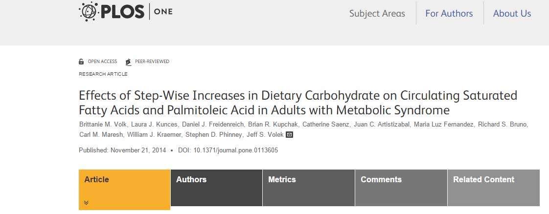 Kohlenhydrate beeinflussen die Menge von gesättigtem Fett und Palmitoleinsäure im Blutplasma