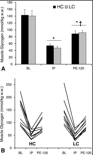 muscle glycogen resynthesis rate High rates of muscle glycogen resynthesis after exhaustive exercise when carbohydrate is coingested with caffeine pedersen dj(1), lessard sj, coffey vg, churchley eg, wootton am, ng t, watt mj, hawley ja.